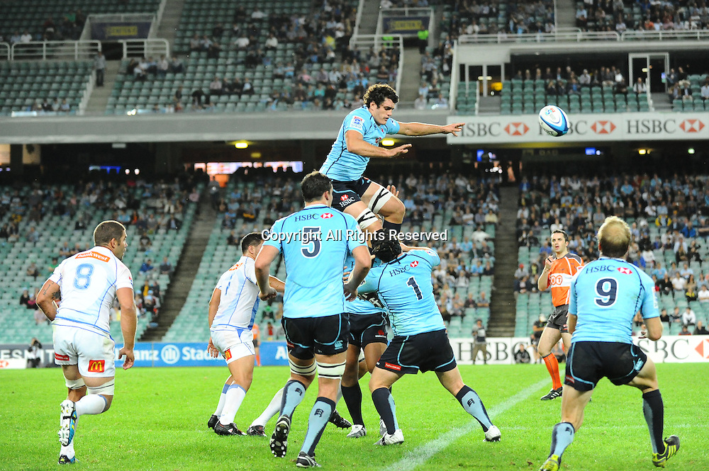 17.03.2012 Sydney, Australia. Waratahs lock Dave Dennis wins the lineout  during the FxPro Super Rugby game between the New South Wales Waratahs  and Western Force at the Allianz Stadium,Sydney.