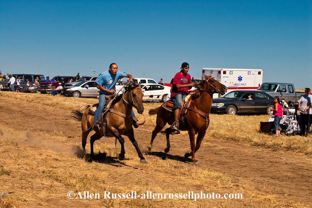 Fort Belknap Indian Reservation, Milk River Memorial Horse Races, Men Half Mile Race, start. .