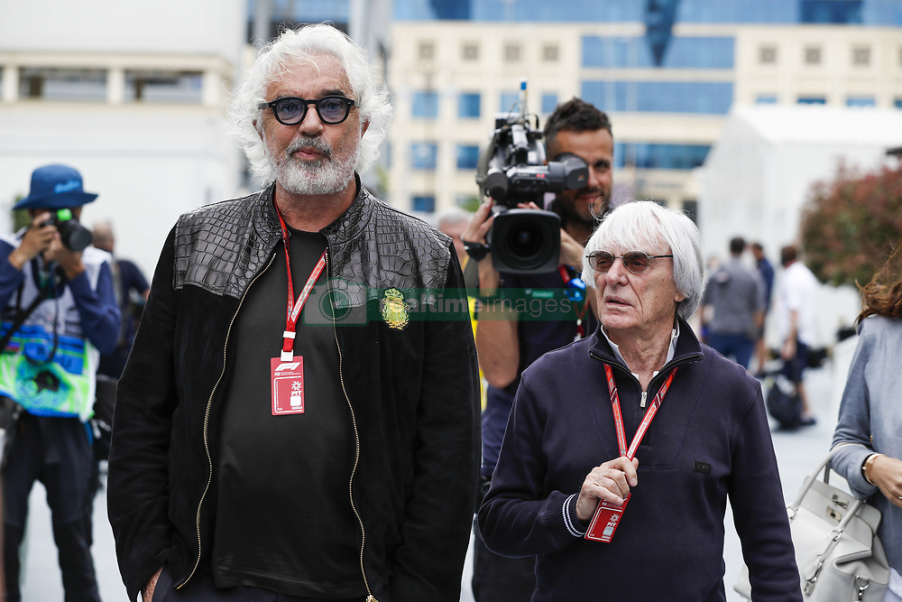 April 28, 2018 - Baku, Azerbaijan - BRIATORE Flavio, ECCLESTONE Bernie (gbr), portrait, during the 2018 Formula One World Championship, Grand Prix of Europe in Azerbaijan from April 26 to 29 in Baku  (Credit Image: © Hoch Zwei via ZUMA Wire)