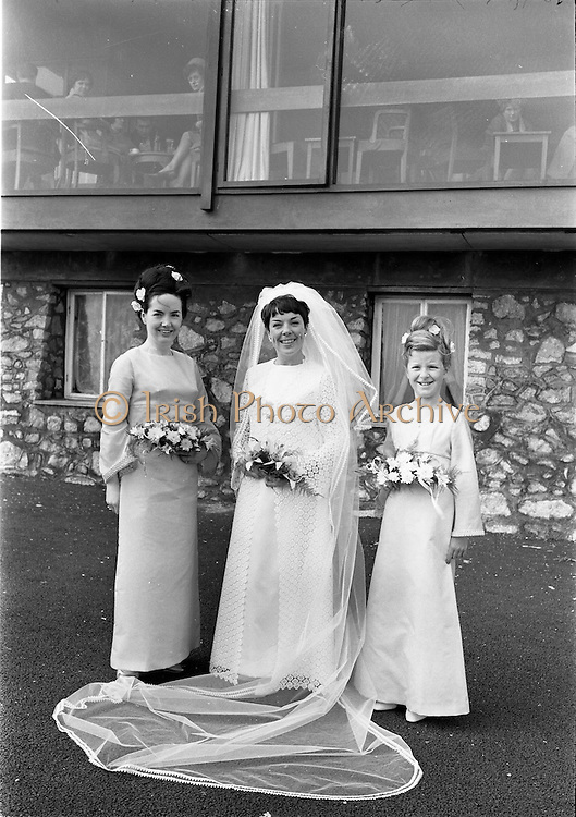 16/09/1967<br /> 09/16/1967<br /> 16 September 1967<br /> Wedding of Mr Francis W. Moloney, 28 The Stiles Road, Clontarf and Ms Antoinette O'Carroll, &quot;Melrose&quot;, Leinster Road, Rathmines at Our Lady of Refuge Church, Rathmines, with reception in Colamore Hotel, Coliemore Road, Dalkey. Image shows the Bride outside the hotel. Matron of Honour Gladys McGloughlin on left.