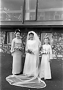 "16/09/1967<br /> 09/16/1967<br /> 16 September 1967<br /> Wedding of Mr Francis W. Moloney, 28 The Stiles Road, Clontarf and Ms Antoinette O'Carroll, ""Melrose"", Leinster Road, Rathmines at Our Lady of Refuge Church, Rathmines, with reception in Colamore Hotel, Coliemore Road, Dalkey. Image shows the Bride outside the hotel. Matron of Honour Gladys McGloughlin on left."