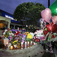 A makeshift memorial is seen during a vigil to honor deceased Orlando Police officer Master Sgt. Debra Clayton who was shot and killed as she attempted to stop and question accused gunman Markeith Loyd, at an Orlando Walmart, on January 10, 2017 in Orlando, Florida. Orange County deputy Norm Lewis who was also killed on his motor patrol while responding to Clayton's shooting was also honored.  (Alex Menendez via AP)