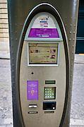 Velib bicycle rental pay station, Paris, France