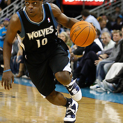 February 7, 2011; New Orleans, LA, USA; Minnesota Timberwolves point guard Jonny Flynn (10) against the New Orleans Hornets during the fourth quarter at the New Orleans Arena. The Timberwolves defeated the Hornets 104-92.  Mandatory Credit: Derick E. Hingle