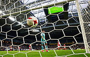 SOLNA, SWEDEN - JULY 27: AIK has a ball in the net but the goal is waved off during the UEFA Europa League Qualifying match between AIK and SC Braga at Friends arena on July 27, 2017 in Solna, Sweden. Photo by Nils Petter Nilsson/Ombrello