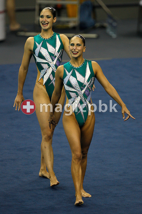 Pamela Fischer (L) and Anja Nyffeler of Switzerland walk in before performing in the Synchronized (synchronised) Swimming Technical Duet preliminary round during the 14th FINA World Aquatics Championships at the Oriental Sports Center in Shanghai, China, Sunday, July 17, 2011. (Photo by Patrick B. Kraemer / MAGICPBK)