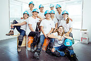 Happy women working on construction site