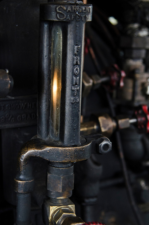 Details from inside the steam engine cab. Made in Philadelphia, PA, this locomotive dates back to 1925.