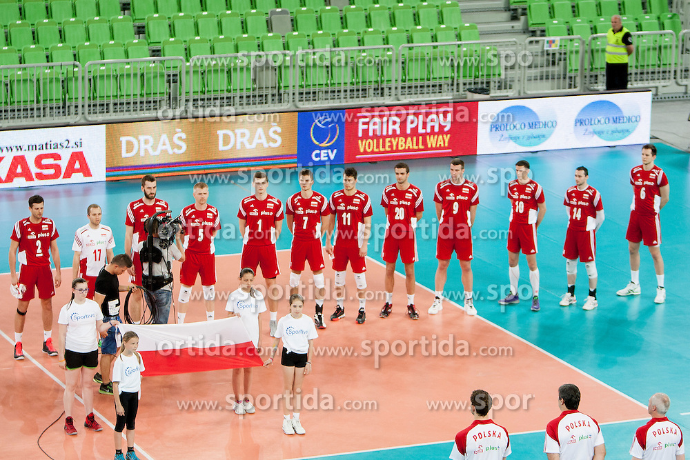 Players of team Poland during volleyball match between National teams of Slovenia and Poland in 4th Qualification game of CEV European Championship 2015 on May 23, 2014 in Arena Stozice, Ljubljana, Slovenia. Photo by Urban Urbanc / Sportida