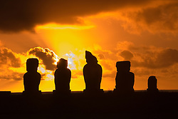 Chile, Easter Island: Moai or statues at the site or ahu called Ahu Tahai, near the town of Hanga Roa, at sunset..Photo #: ch201-32614.Photo copyright Lee Foster www.fostertravel.com lee@fostertravel.com 510-549-2202