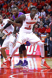 "29 December 2016:  Daouda ""David"" Ndiaye (4) during an NCAA  MVC (Missouri Valley conference) mens basketball game between the Evansville Purple Aces the Illinois State Redbirds in  Redbird Arena, Normal IL"