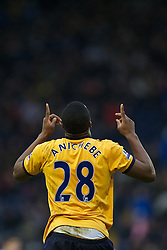 WEST BROMWICH, ENGLAND - Sunday, January 1, 2011: Everton's Victor Anichebe celebrates scoring the first goal against West Bromwich Albion during the Premiership match at the Hawthorns. (Pic by David Rawcliffe/Propaganda)