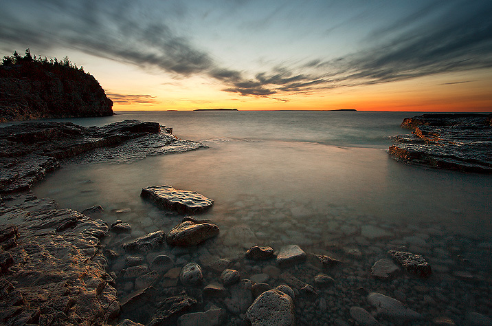 Radiating Clouds at Twilight  over Indian Head Cove, Bruce Peninsula National Park, Ontario, Canada