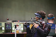 Shooting. Owen Burke of Great Britain in the R1 - Men's 10m Air Rifle Standing SH1 Qualifying at the Olympic Shooting Centre. Day 1 of the 2016 Rio Paralympic Games. Thursday 8th September 2016.