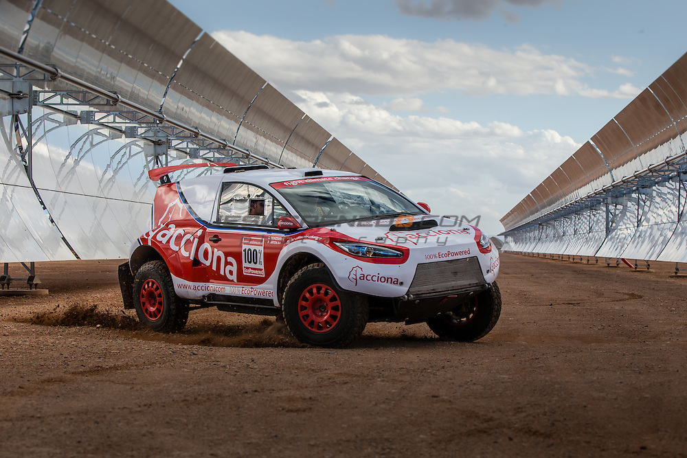 Acciona 100x100 ecopowered,electric car, Dakar 2016, Marroco 2015, Ouazarzate
