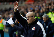 Newly appointed Reading first team manager Brian McDermott waves to the fans before the Sky Bet Championship match between Reading and Blackburn Rovers at the Madejski Stadium, Reading, England on 20 December 2015. Photo by Andy Walter.