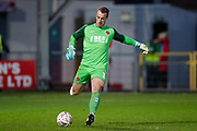 Fleetwood Town goalkeeper Alex Cairns (1)  in action  during the The FA Cup 3rd round match between Fleetwood Town and AFC Wimbledon at the Highbury Stadium, Fleetwood, England on 5 January 2019.