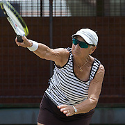 Mary Boswell, USA, in action in the 75 Womens Singles during the 2009 ITF Super-Seniors World Team and Individual Championships at Perth, Western Australia, between 2-15th November, 2009.