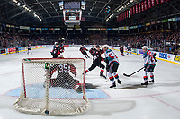 KELOWNA, CANADA - JANUARY 4:  Taylor Gauthier #35 of the Prince George Cougars defends the net and makes a save on a shot by Lane Zablocki #27 of the Kelowna Rockets on January 4, 2019 at Prospera Place in Kelowna, British Columbia, Canada.  (Photo by Marissa Baecker/Shoot the Breeze)