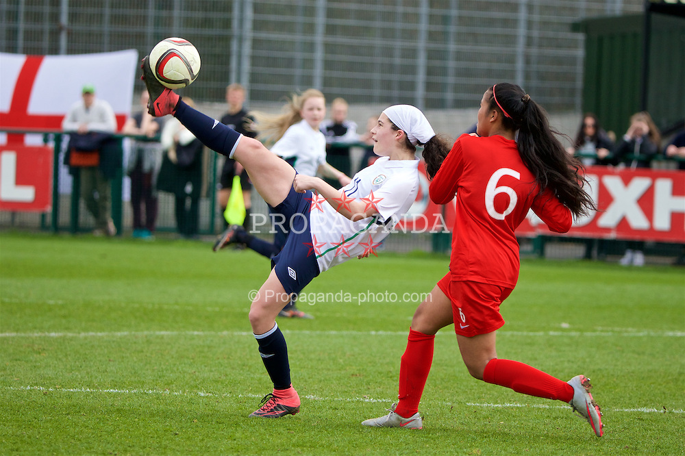 NEWPORT, WALES - Monday, April 4, 2016: Republic of Ireland's Amy Boyle Carr in action against England during the Final on day four of the Bob Docherty International Tournament 2016 at Dragon Park. (Pic by David Rawcliffe/Propaganda)