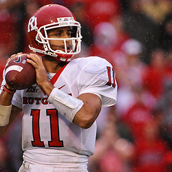 Sep 26, 2009; College Park, MD, USA; Rutgers quarterback Domenic Natale (11) looks for a receiver during the second half of Rutgers' 34-13 victory over Maryland in NCAA college football at Byrd Stadium.