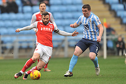 ADAM ARMSTRONG COVENTRY CITY, BATTLES WITH FLEETWOODS VICTOR NIRENNOLD, FLEETWOODS JAMES RYAN GETS PAST COVENTRYS JOHN FLECK, Coventry City v Fleetwood Town Ricoh Arena, Sky Bet League One Saturday 27th February 2016