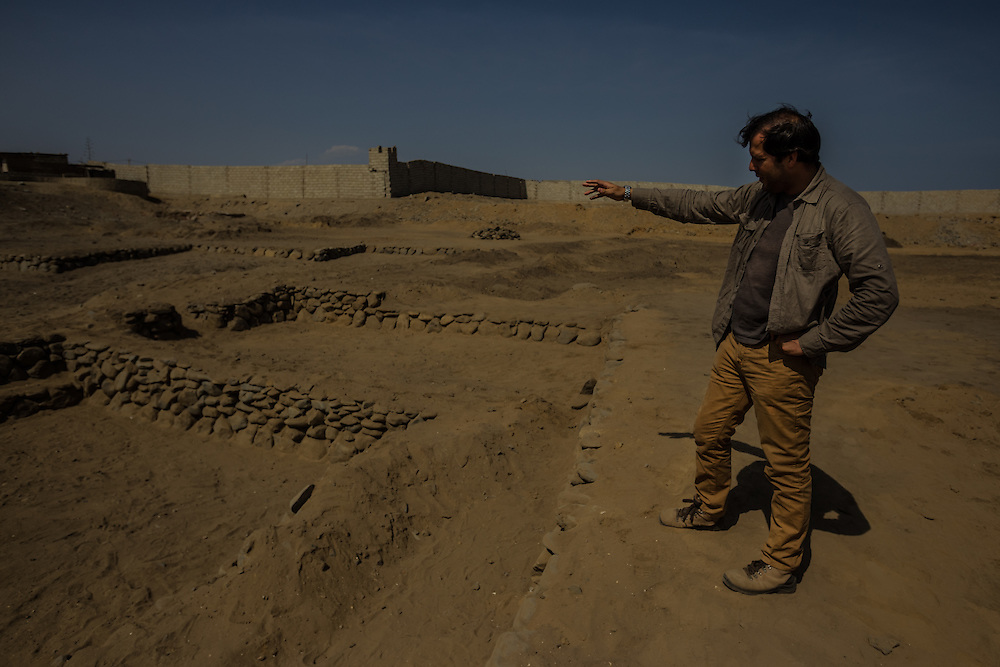 HUANCHACO, PERU - JULY 16, 2014: Gabriel Prieto, an archeologist who grew up here, believes he has found the oldest evidence yet of caballito boats, at an excavation in town: a two-and-a-half-inch-long reed bundle that he believes is the fragment of a miniature a boat made 3,500 years ago. It is tied with double loops of twine in virtually the same way that fishermen tie together their reed boats are today. PHOTO: Meridith Kohut for The New York Times