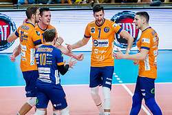 Pavlovic Uros of ACH Volley and other ACH Volley players celebrate during Champions League match between ACH Volley Ljubljana and Berlin Recycling Volleys<br /> , on February 12, 2020 in Hala Tivoli, Ljubljana, Slovenia. Photo by Ziga Zupan / Sportida