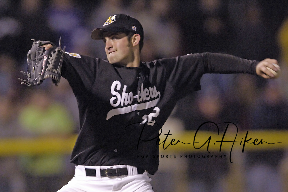 Wichita State pitcher Max Hitson came in for relief in the bottom of the sixth inning against Kansas State.  K-State defeated the 19th ranked Shockers 6-3 at Tointon Stadium in Manhattan, Kansas, March 14, 2006.