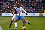 Kilmarnock FC Midfielder Tope Obadeyi plays the ball during the Ladbrokes Scottish Premiership match between Heart of Midlothian and Kilmarnock at Tynecastle Stadium, Gorgie, Scotland on 27 February 2016. Photo by Craig McAllister.