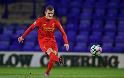 BIRKENHEAD, ENGLAND - Wednesday, November 2, 2016: Liverpool's Brooks Lennon in action against FC Porto during the Premier League International Cup match at Prenton Park. (Pic by David Rawcliffe/Propaganda)