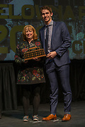 KELOWNA, CANADA - MARCH 19:  Top Defenceman presented to Cal Foote by Tobi McNeil at the Kelowna Rockets Awards Ceremony on March 19, 2017 at the Kelowna Community Theater in Kelowna, British Columbia, Canada.  (Photo By Cindy Rogers/Nyasa Photography,  *** Local Caption ***