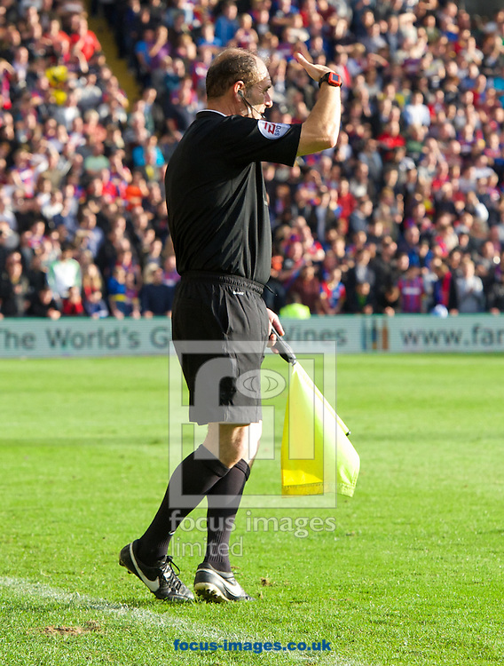 The linesman seems to loose track of where the touchline is during the Barclays Premier League match at Selhurst Park, London<br /> Picture by Alan Stanford/Focus Images Ltd +44 7915 056117<br /> 18/10/2014