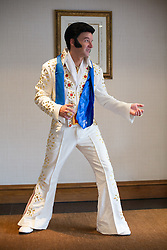 © Licensed to London News Pictures. 06/01/2017. Birmingham, UK. The European Elvis tribute artist contest taking place in Birmingham this weekend. The contest over three days has been taking place for twelve years and is timed to coincide with the anniversary of the birthday of Elvis. Over 80 acts will battle it out to be crowned European champion. Pictured, Chris Taylor from Essex, taking part in his first competition. Photo credit: Dave Warren/LNP