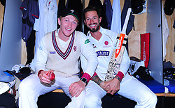 Dom Bess and Peter Trego of Somerset pose for photos.  - Mandatory by-line: Alex Davidson/JMP - 22/09/2016 - CRICKET - Cooper Associates County Ground - Taunton, United Kingdom - Somerset v Nottinghamshire - Specsavers County Championship Division One