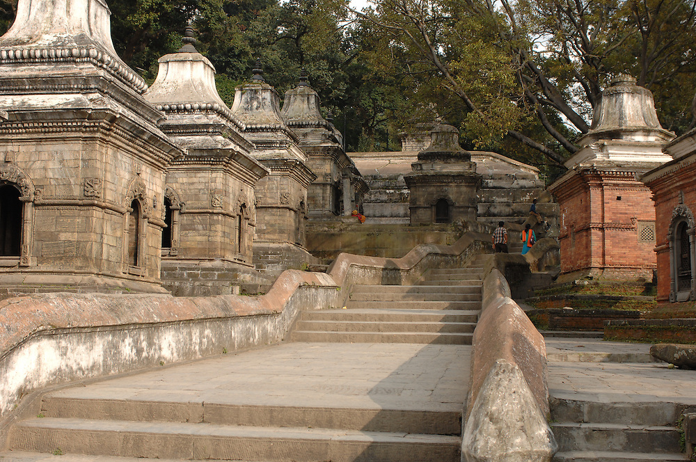 A stairway and row of small temples near Pashupatinath Temple, in Kathmandu, Nepal.