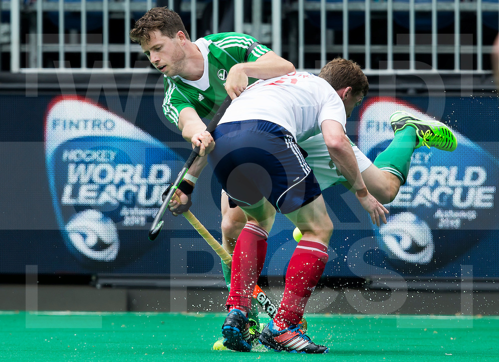 ANTWERP -    Kyle Good (l)  of Ireland  and Michael Hoare (r) of GB during  the match between  the men of Great Britain and Ireland (2-2)  WSP COPYRIGHT KOEN SUYK