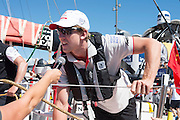 Emirates Team New Zealand sailor Peter Burling rides as a guest on Dongfeng Race Team during the In Port Race at the Auckland stopover of the Volvo Ocean Race. 14/3/2015