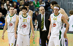 Sani Becirovic (7) of Olimpija, Saso Ozbolt (31) of Olimpija, Edin Bavcic (9) of Olimpija, Head coach of Olimpija Jure Zdovc, Vladimir Golubovic (21) of Olimpija and Matt Vincent Walsh (44) of Olimpija at Euroleague basketball match between KK Union Olimpija, Ljubljana and CSKA Moscow, on January 7, 2010 in Arena Tivoli, Ljubljana, Slovenia. CSKA defeated Olimpija 80:77 after overtime. (Photo by Vid Ponikvar / Sportida)