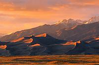 Sunset on Sangre de Cristo Range & dunes; Great Sand Dunes National Park