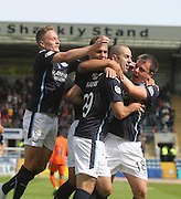 Dundee's Gary Harkins is congratulated after scoring by Simon Ferry, Paul McGowan and Luka Tankulic - Dundee v Kilmarnock - SPFL Premiership at Dens Park<br /> <br />  - &copy; David Young - www.davidyoungphoto.co.uk - email: davidyoungphoto@gmail.com