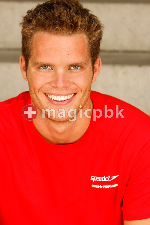 Swimmer Dominik Meichtry of Switzerland poses during a portrait session of the Swiss team for the 2006 European Championships at St. Jakob Sportbad in Basel, Switzerland, Saturday July 22, 2006. (Photo by Patrick B. Kraemer / MAGICPBK)