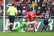 Kiko Casilla (33) of Leeds United makes a save during the EFL Sky Bet Championship match between Bristol City and Leeds United at Ashton Gate, Bristol, England on 9 March 2019.