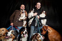 4 February, 2009. New York, NY. Clint (38, left, from Denver, CO) and Brian Livingston (26, right, from Dallas, TX), brothers and top dog handlers, are here with 10 of their dogs in the Pennsylvania Hotel's basement that has been converted to a canine playground and restroom. Clint has 6 dogs and Brian has 5 dogs they will show at the Westminster Dog Show at the Madison Square Garden on February 16th and 17th. Originally from San Antonio, TX, Clint and Brian Livingston have been attending the Westminster Dog Show for more than 20 years (24 year for Clint, 21 years for Brian). After New York, Clint and Brian will attend a 2 days show in Texas and a 7 days show in Florida. They spend about 175 days a year on the road for dog shows.<br /> <br /> ©2009 Gianni Cipriano for The New York Times<br /> cell. +1 646 465 2168 (USA)<br /> cell. +1 328 567 7923 (Italy)<br /> gianni@giannicipriano.com<br /> www.giannicipriano.com