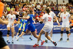at handball match between Slovenia and Montenegro at EHF European Women's Handball Championship Under 19, on July 27, 2017 in Golovec sports hall, Celje, Slovenia. Photo by Urban Urbanc / Sportida