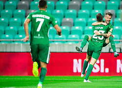 Nik Kapun of Olimpija and Asmir Suljić of Olimpija celebrate after scoring first goal during football match between NK Olimpija Ljubljana and NK Celje in 3rd Round of Prva liga Telekom Slovenije 2018/19, on Avgust 05, 2018 in SRC Stozice, Ljubljana, Slovenia. Photo by Vid Ponikvar / Sportida