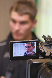 Cardiff, Wales - Monday, May 26, 2008: Wales' Sam Vokes during a press conference ahead of the international friendly match against Iceland. (Photo by David Rawcliffe/Propaganda)