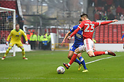 Nottingham Forest forward Joe Lolley (23) takes a shot at goal during the EFL Sky Bet Championship match between Nottingham Forest and Birmingham City at the City Ground, Nottingham, England on 3 March 2018. Picture by Jon Hobley.
