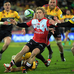 Faf De Klerk passes during the Super Rugby final match between the Hurricanes and Lions at Westpac Stadium, Wellington, New Zealand on Saturday, 6 August 2016. Photo: Dave Lintott / lintottphoto.co.nz