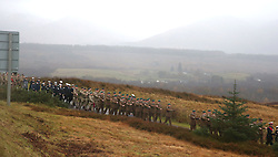Military personnel march at a Remembrance Sunday service at the Commando Memorial near Fort William, held in tribute for members of the armed forces who have died in major conflicts.